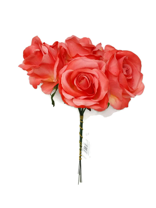 6 Wired Stem Rose Bundle x 27cm - Coral