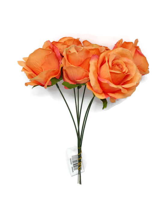 6 Wired Stem Rose Bundle x 27cm - Orange