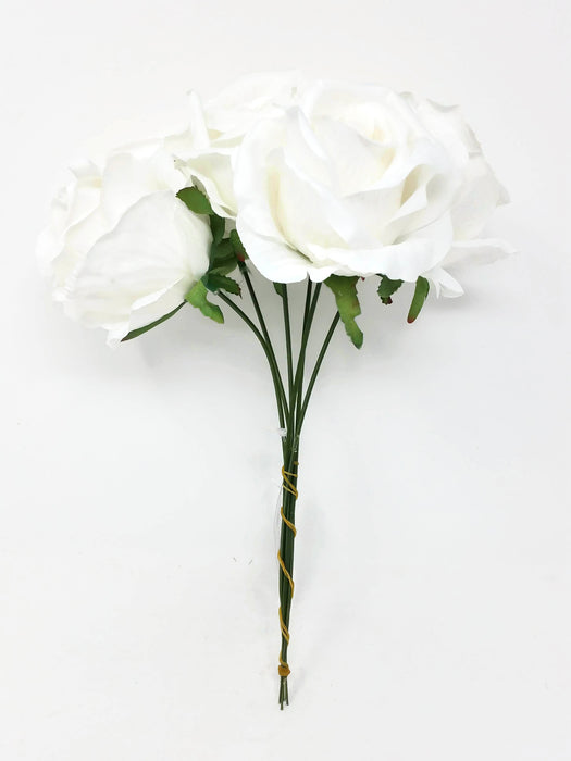 6 Wired Stem Rose Bundle x 27cm - Ivory