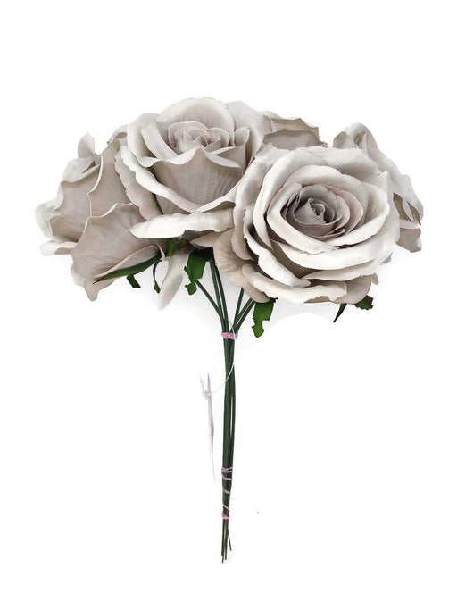 6 Wired Stem Rose Bundle x 27cm - Pewter