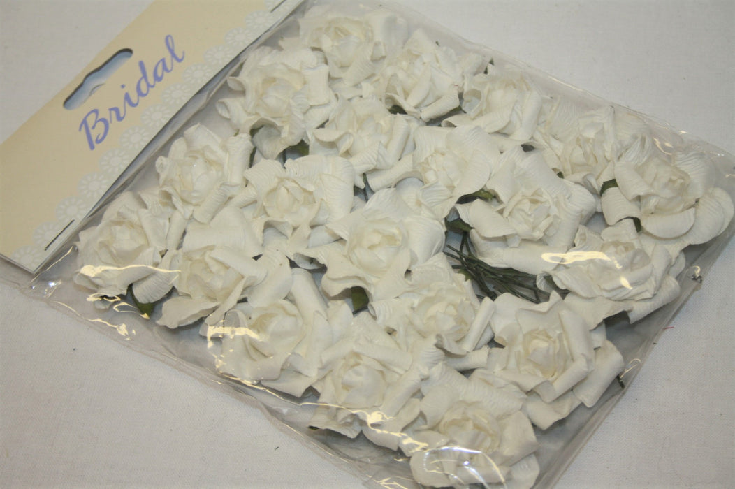 Small White Paper Rose Heads x 20