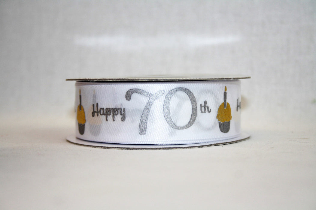 Happy 70th Silver & Gold on White Satin Ribbon 25mm