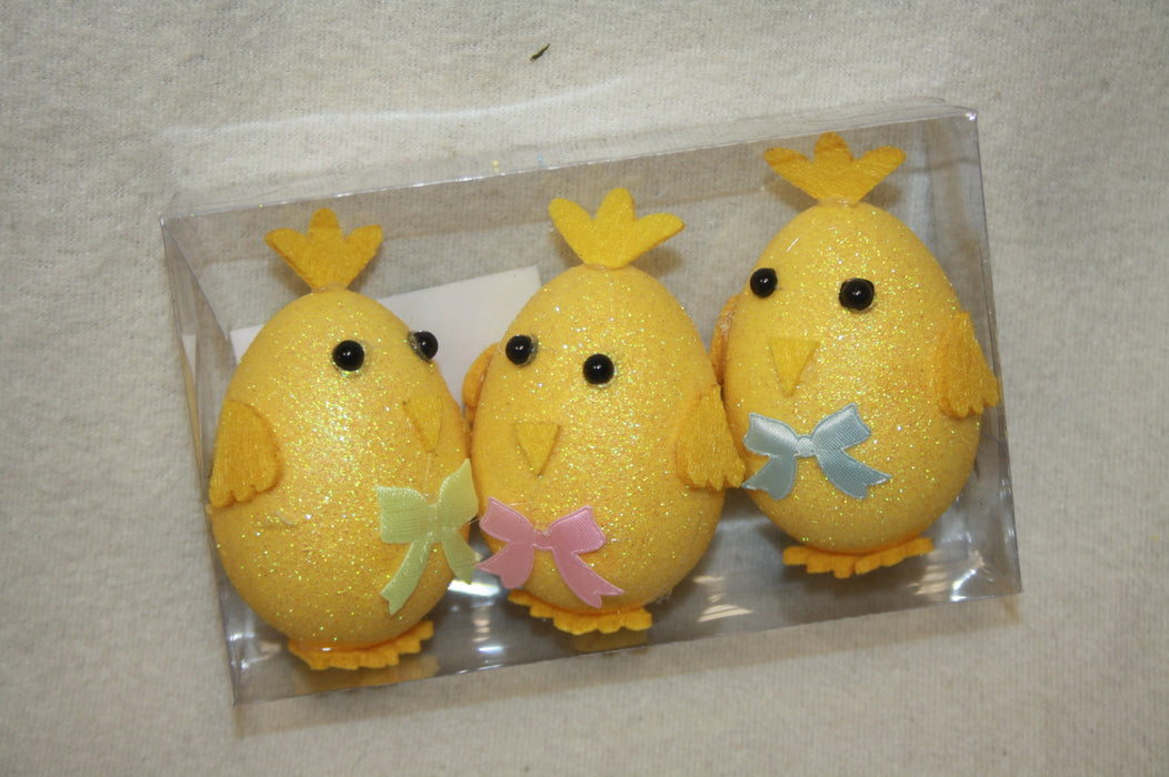 3 Yellow Glitter Egg Picks