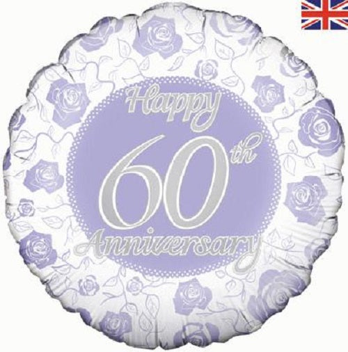 "18"" Foil Balloon - Happy Anniversary - 60th"