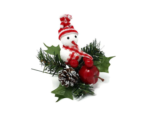 Single Christmas Snowman & Apple Artificial Pine Pick x 18cm