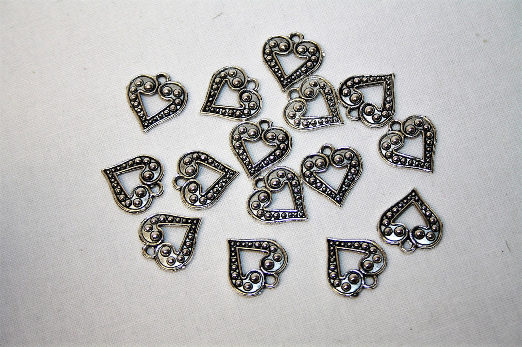 15 Silver Embossed Metal Open Heart Charms