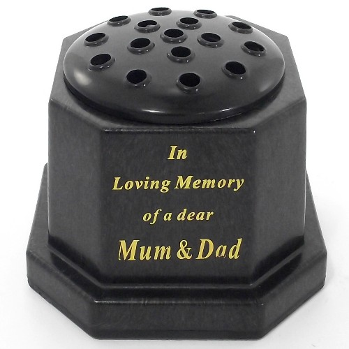 Black In Loving Memory Memorial Pot - Mum & Dad