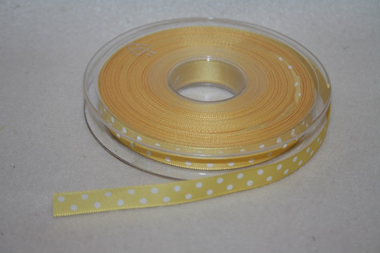 10mmx20m polka dot ribbon yellow L171