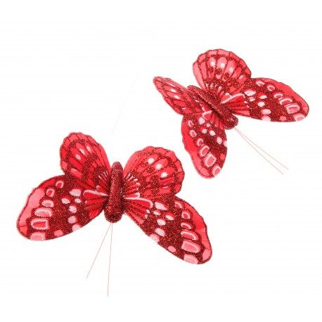10cm Red Glittered Wired Butterflies , 12 Per box