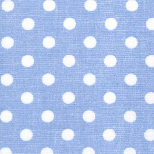 100% Cotton Poplin Fabric Pale Blue - 7mm Polka Dot - 112cm wide