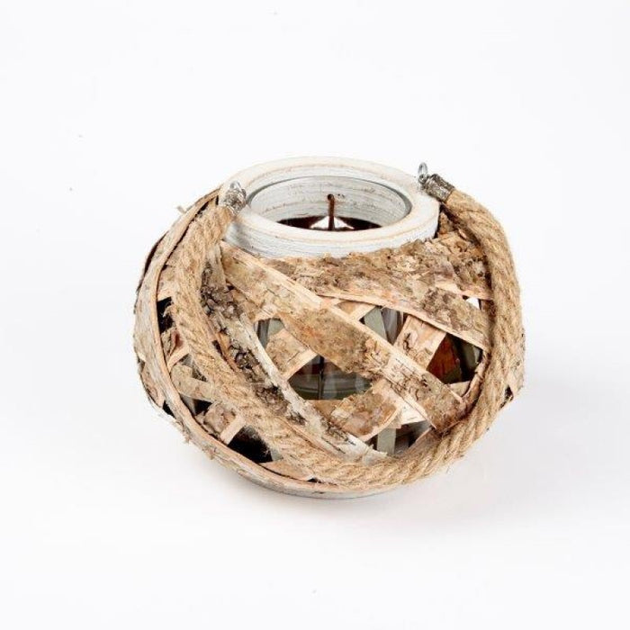 Round Natural Birch Candle Lantern with Rope