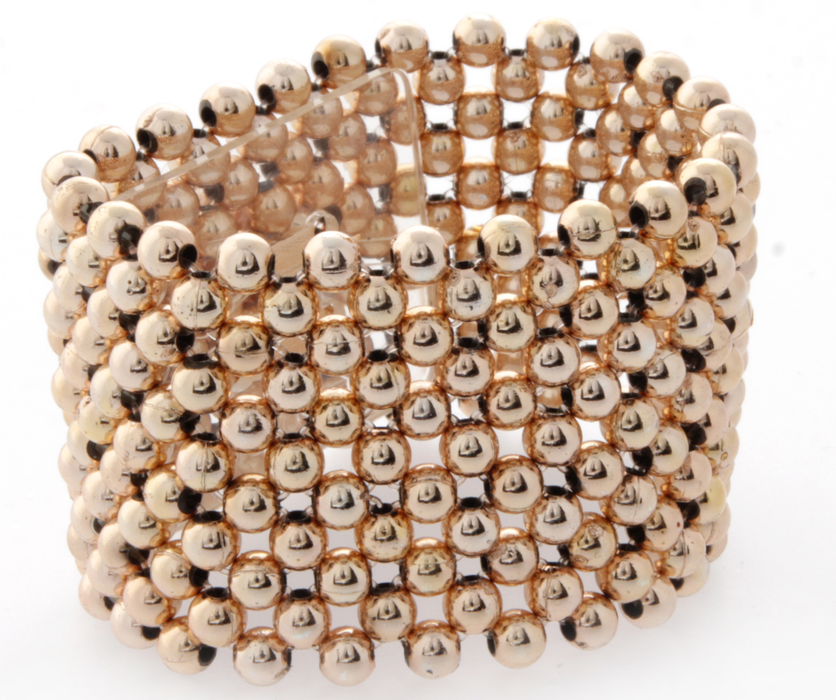 Wide Pearl Corsage Bracelet - Rose Gold