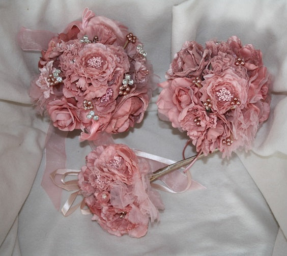 Satin Chiffon Pink Large Bouquet (238)