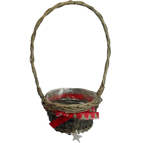 18cm Round Basket With Handle & Christmas Tree Ribbon