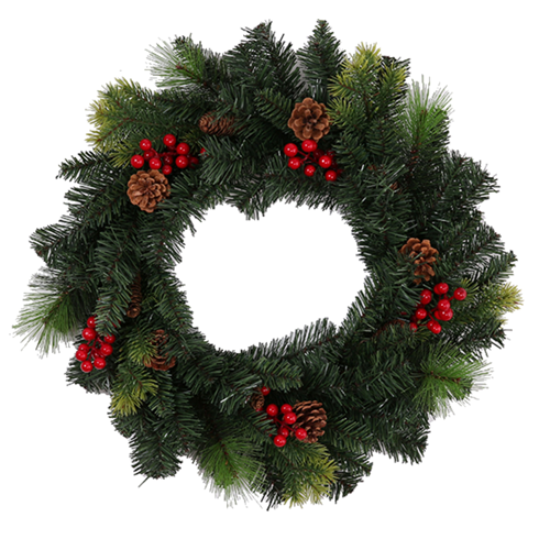 Pine & Spruce Wreath with Pine Cone and Berries x 56cm/22""