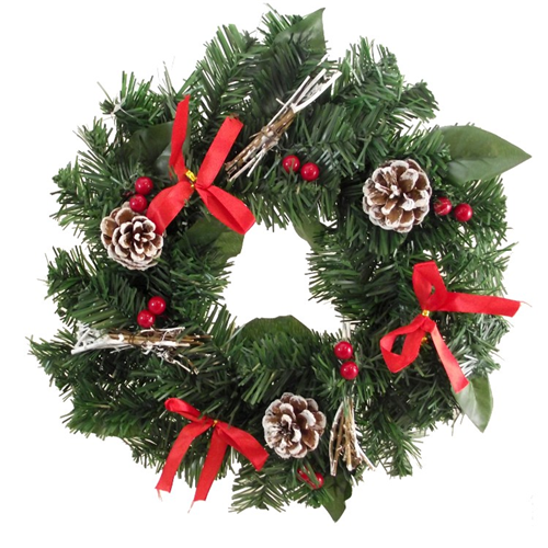 "12"" Pine Wreath With Frosted Pine Cones"