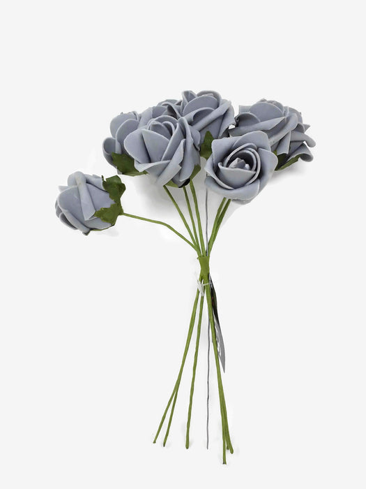 8 Head Foam Rose Bud Bunch - Grey