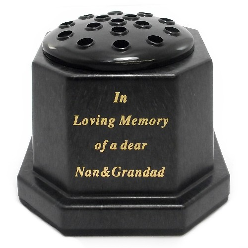 Black In Loving Memory Nan & Grandad Memorial Pot
