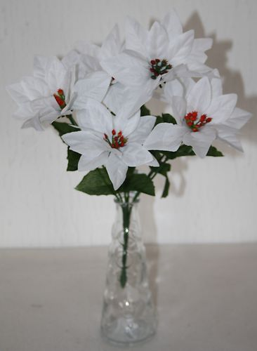7 Head WHITE Poinsettia Artificial Christmas Bush (661)