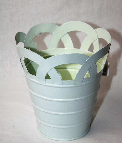 Mint Metal Basket Flower Container