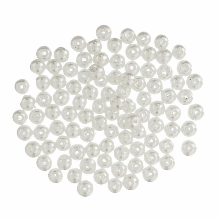 6mm Trimits White Glass Pearl Beads x 100