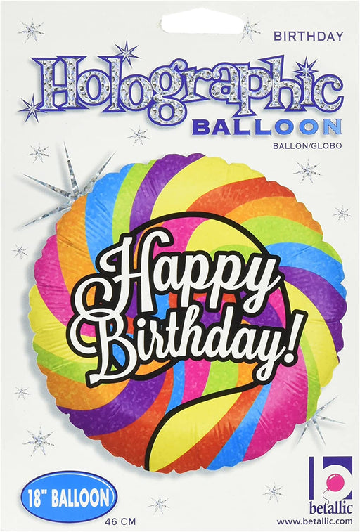 "18"" Foil Balloon - Happy Birthday - Swirly Colours"