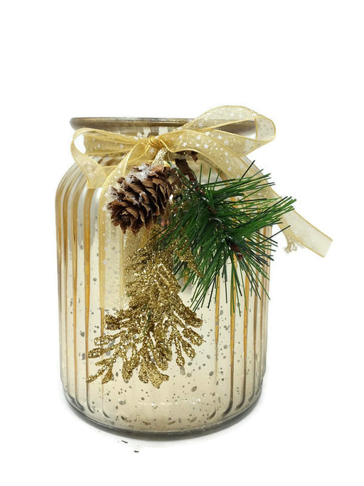Gold Ribbed Glass Vase with Snowy Pinecone & Gold Leaf Decoration - 9 x 15cm