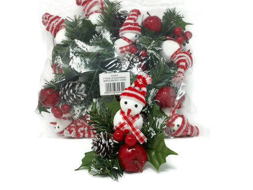 Christmas Snowman & Apple Pine Pick  x 18cm - Pack of 12