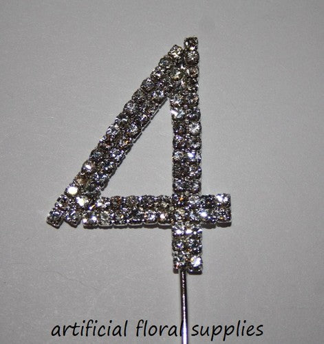 "Single Number Diamante Cake Topper ""4"""