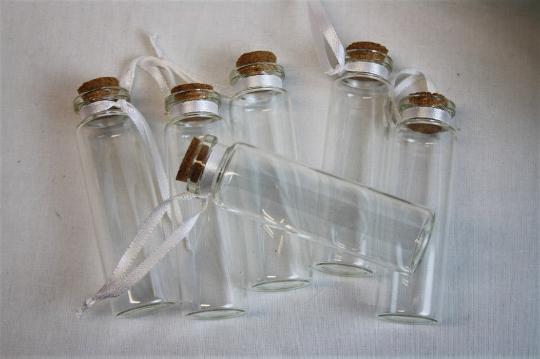 6 Small Glass & Cork Bottles 75mm x 20mm