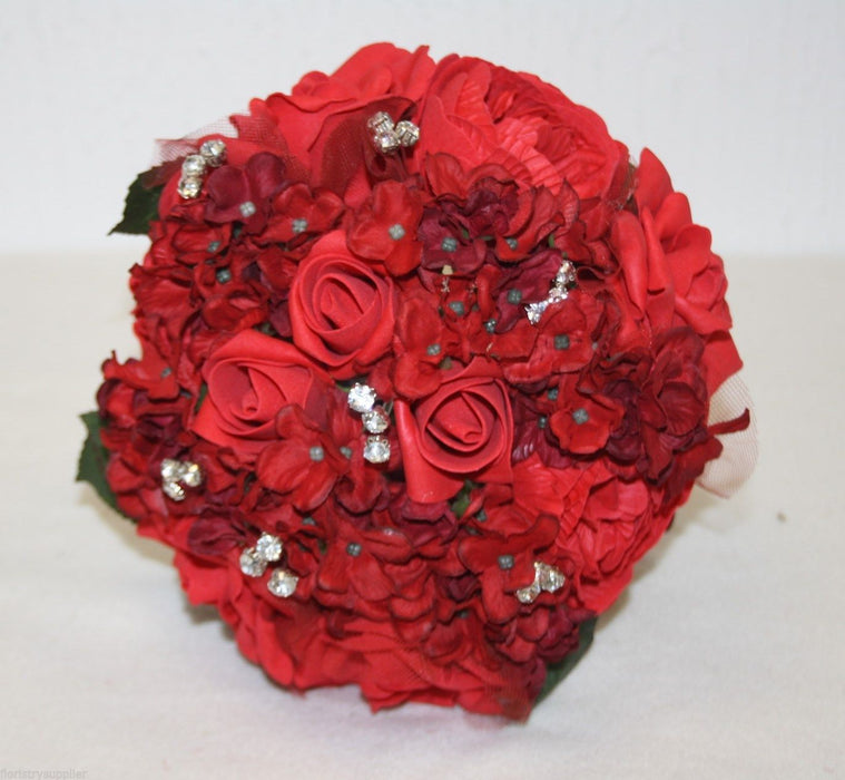 Foam Rose Bridal Bouquet - Mixed Reds