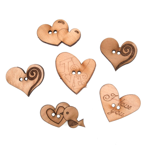 Novelty Wooden Buttons Pack of 6 - Love