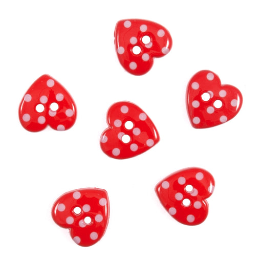 Novelty Craft  Buttons, Dotty Hearts, Pack of 6, 1.5cm approx