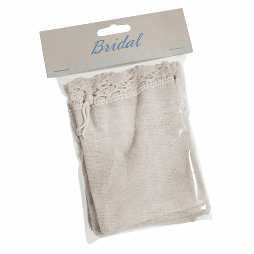 5 Cotton Bags With Lace Trim 10 x 13.5cm