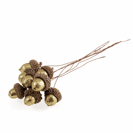 Gold Glitter Acorns on Wire - 8 Pieces