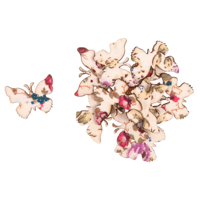 Wooden Craft Embellishments - Floral Butterflies - Pack of 12