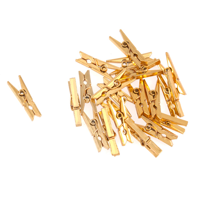 Mini Metallic Gold Pegs x Pack of 20