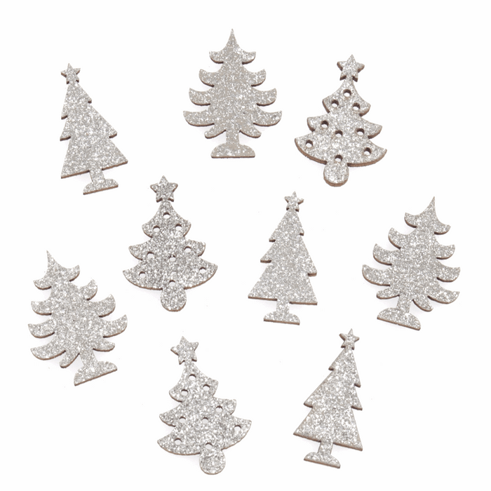 Craft Embellishment - Wooden Silver Glitter Tree - Pack of 9