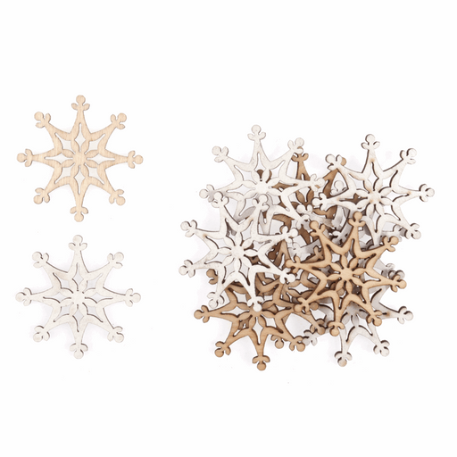 12 Natural and White Craft Snowflake Wooden Embellishment