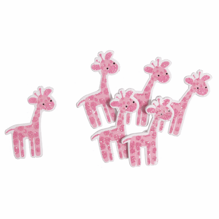 Pack of 6 Pink Baby Giraffe - Self Adhesive