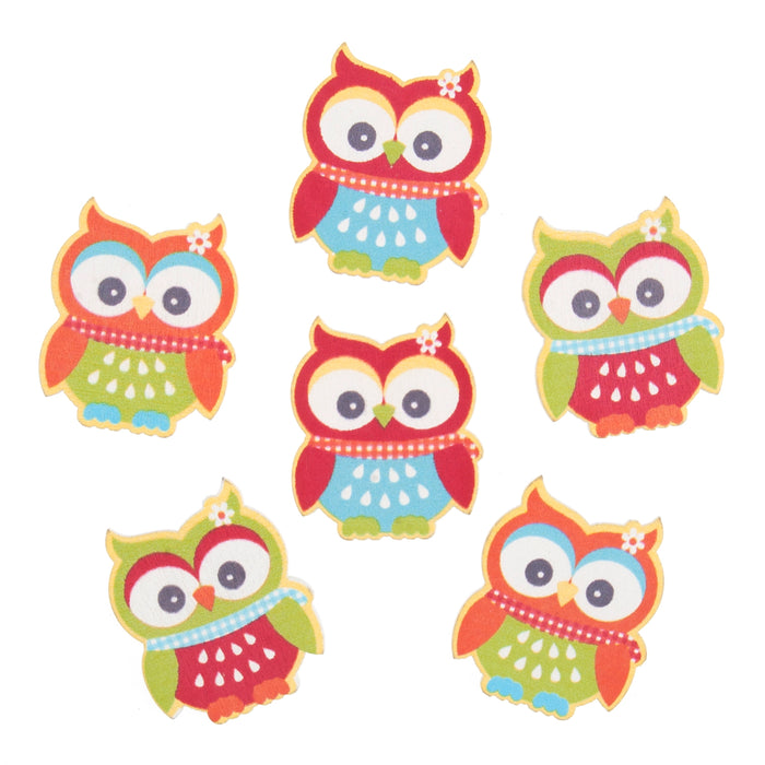 Craft Embellishments Bright Owls Pack of 6