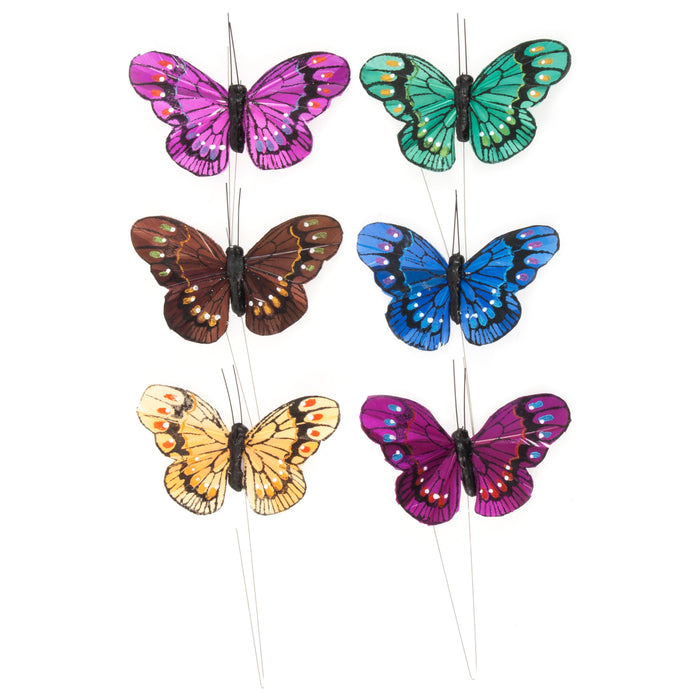 Pack of 6 Assorted Colour Butterflies x 8cm