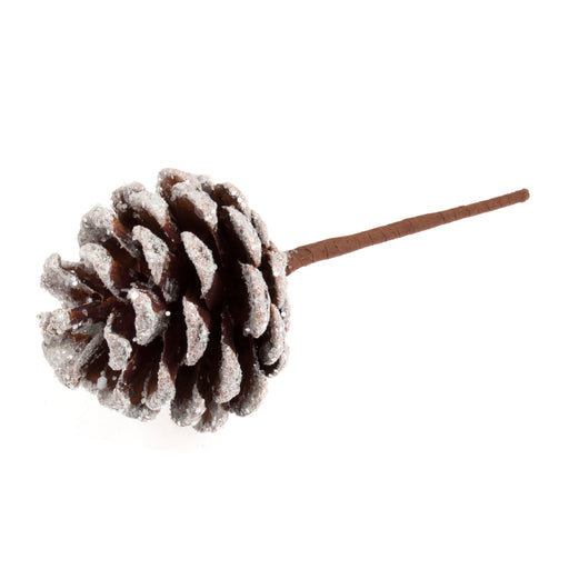 Pine Cone on Wired Stem - Snowy Tipped
