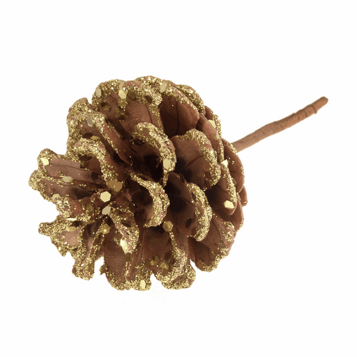 Pine Cone on Wired Stem - Gold Glittered
