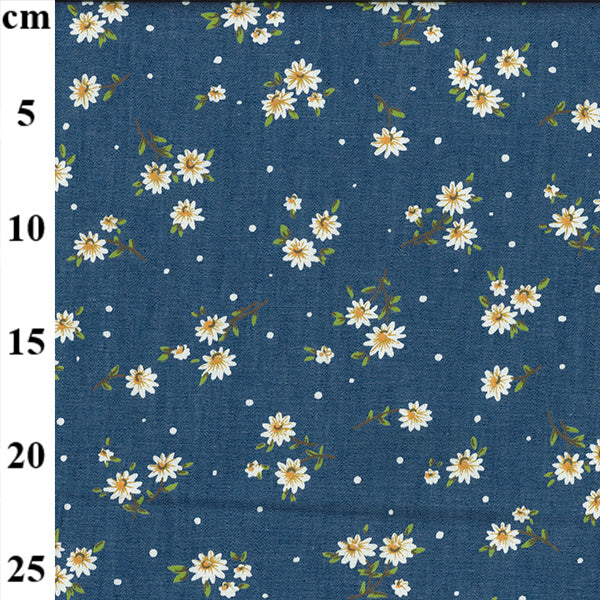 "Printed Denim- 100% Cotton - 147cm/58"" - Daisy"