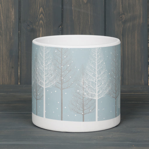 Ceramic Snowy Woodland Pot 12cm