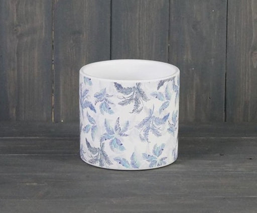 Blue Leaf Ceramic Pot - 12 x 14 cm