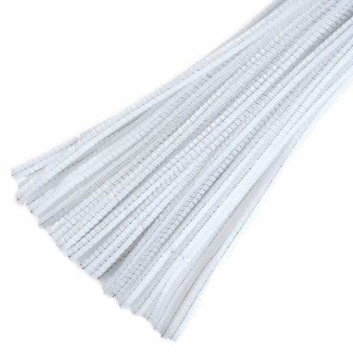 30 x Chenilles Pipe Cleaners  30cm x 6mm - White