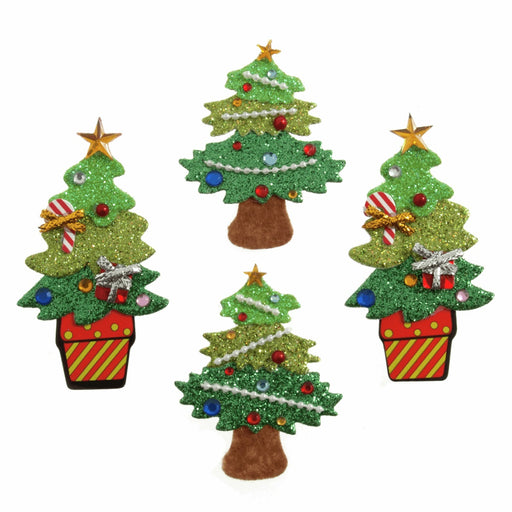Sparkly Glitter & Gem Craft Stickers x 4 - Christmas Tree