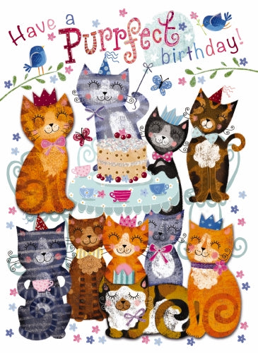 "7x5"" Card -  Have a Purrfect Birthday - Loads of Cats"